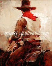 Decorative Handmade Abstract Cowboy Oil Painting on Canvas