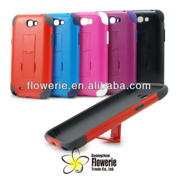 FL512 2013 newest!combo case with stand for samsung galaxy note 2,pc & tpu material for n7100 low price!