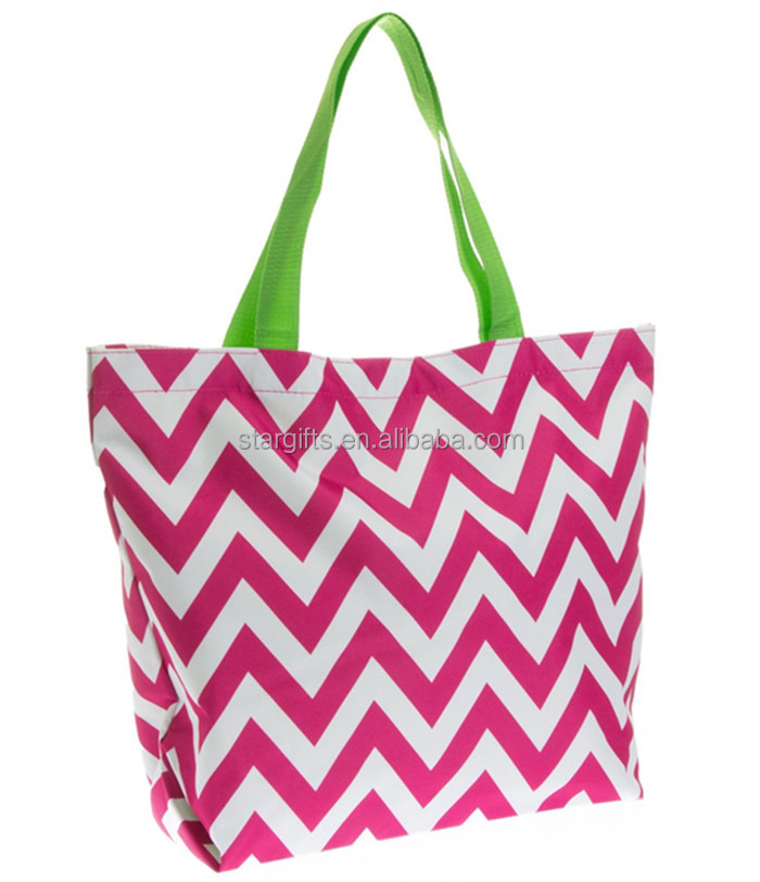 China Supplier Custom Chevron Printed Reusable Shopping Bags For Women'S Travel