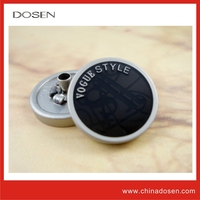 Fashionable casual custom enamel color plating black snap fasteners metal buttons for cloth