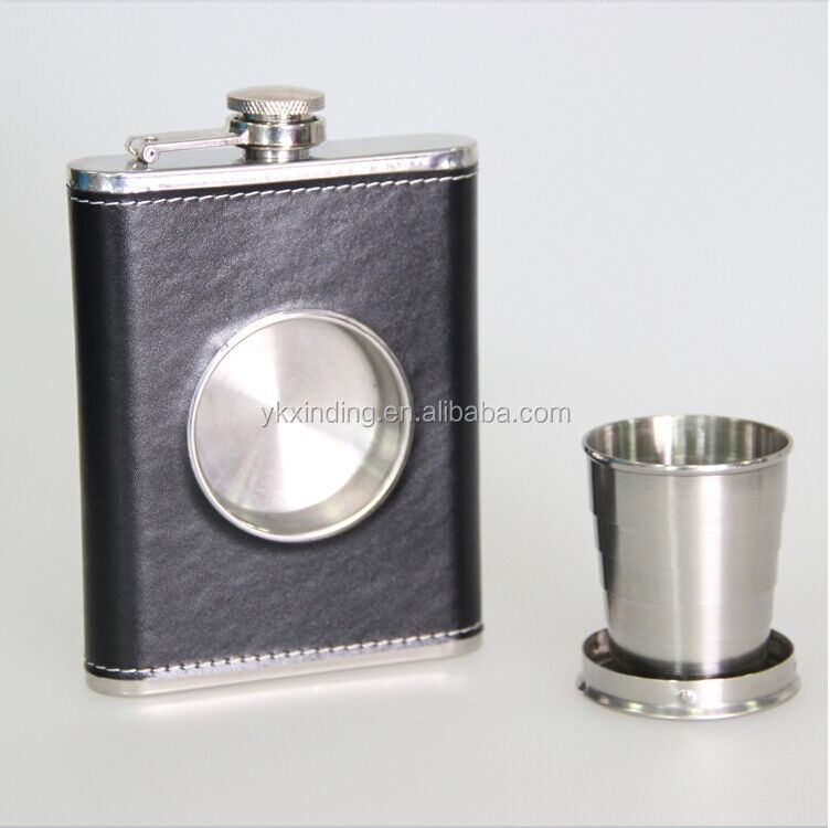 8oz quality metal Built-in Collapsible Shot Glass leather 8oz Hip Flask