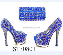 ST70801 latest italian shoes and bag matchi 2017 fashion royal blue high heel shoes and bag for african party
