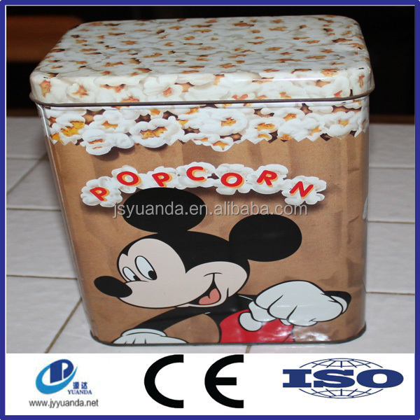 Large food packaging tin can ,Mickey Mouse Square Popcorn Tin