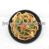 creative lifelike mini PVC fake pasta noodles with plate model for artificial food frigde magnet as home decoration