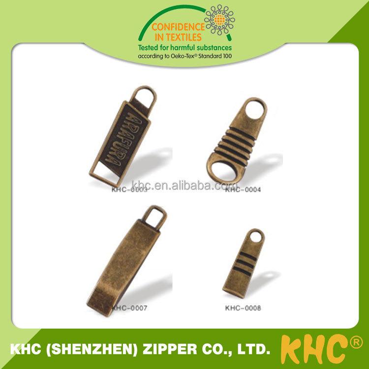 High End Special Design Engraved Logo Fashion Metal Zip Pullers