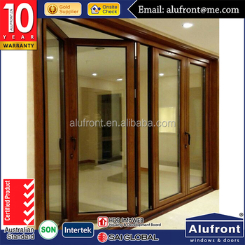 Top Quality aluminum and wood cladding bi folding doors series for energy saving
