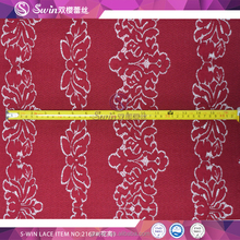 Maroon Color For Old Woman Dress and Garment In stock Garment High Quality Lace Fabric