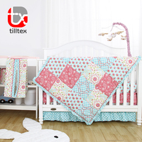100% Cotton sateen flower printed luxury new born baby bedding set