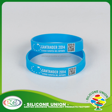 silk printed bands /silicone ID bracelets/QR silicone bangles rubber wrstband