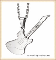 Fashion dog tags personalized engraved stainless steel pendants in guitar shape with CZ stones