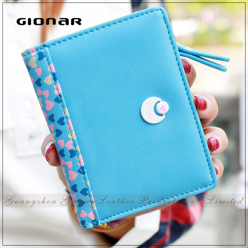 Fashion Moon Button Zipper Coin Pocket Brand Purse for Girls Cute Trifold Wallet