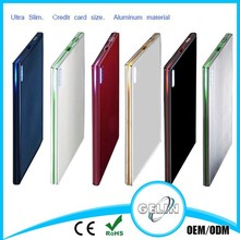 Ultra Slim, Credit Card Size, Aluminum Material 2000mAh Wallet-Sized Portable Charger External Battery Power Bank