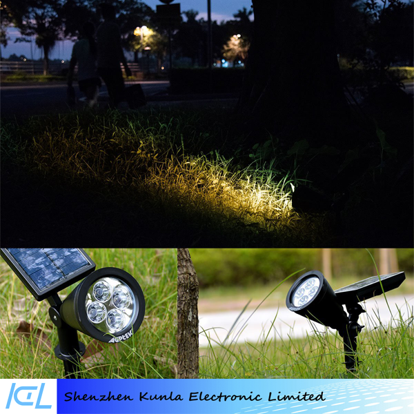 2-in-1 Waterproof 4 LED Adjustable Wall Security Light Dark Sensing Auto On-Off solar Spotlight for Garden Driveway