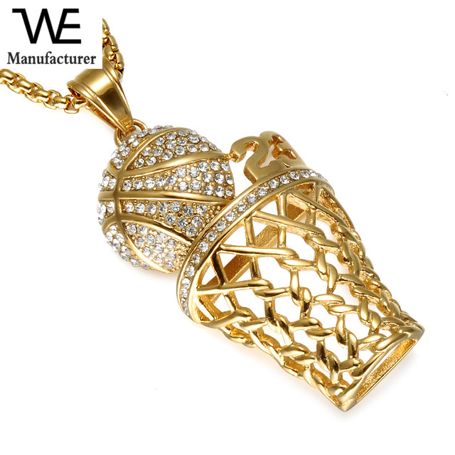 Hip Hop Iced Out Bling Full Crystal Men Basketball Pendants Gold Stainless Steel Sports Necklace for Men Jewelry