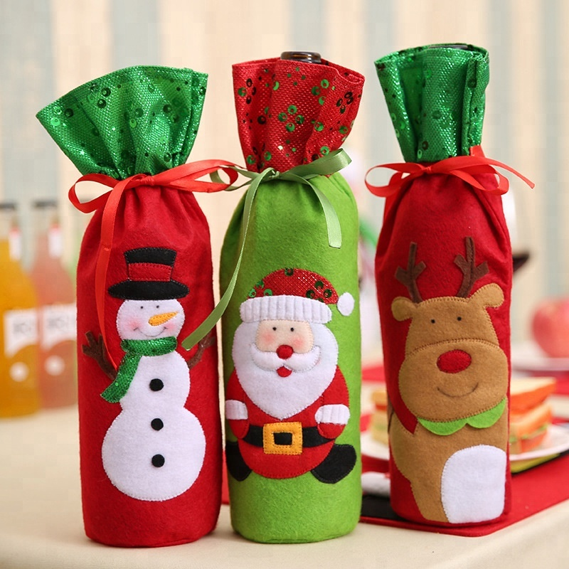 Christmas Mini Cute Wine Bottle Organza Bag Wine Bottle Packaging Bag Ornament Christmas Bottle <strong>Decoration</strong>