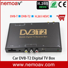 mpeg4 h264/H.265/HEVC usb Mobile digital car dvb-t2 tv tuner receiver box, compatible with DVB-T TV programs