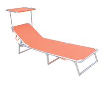 Sun lounger folding portable reclining outdoor beach bed with footrest
