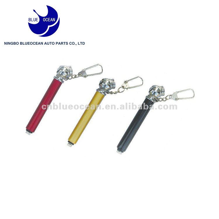 Mini pencil type car tire pressure gauge with keychain