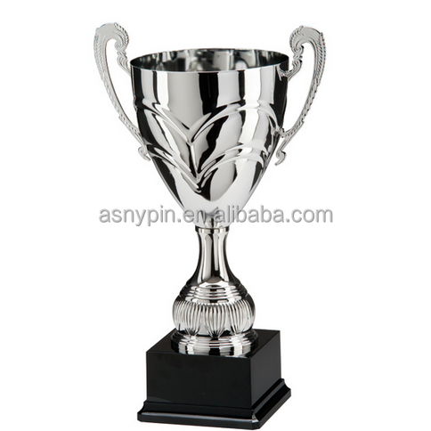Excellent obsolete custom award silver plating zinc alloy trophy cup with wooden