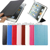 Tri-folding Stand leather Case for iPad mini 1 2 3, 3 segment leather case for ipad mini 1 2 3
