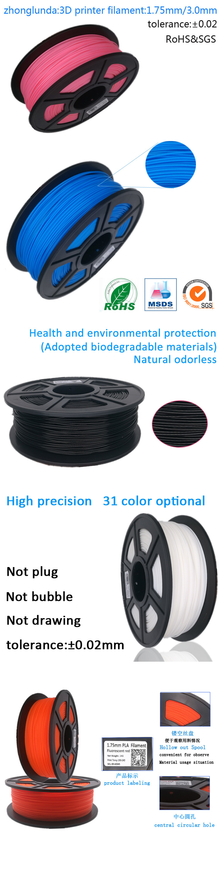 Eco-friendly Carbon fiber PLA 3D printing filament 1.75mm and 3D printing pen filament