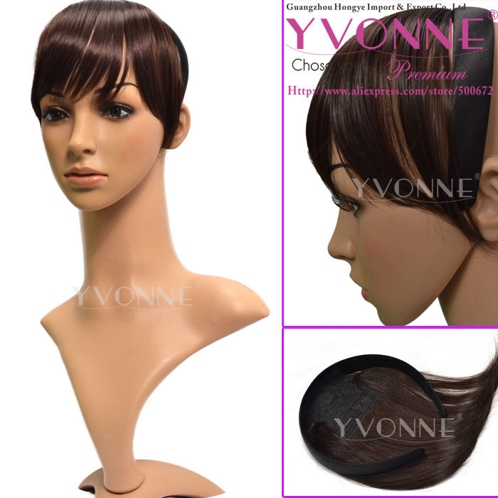 Natural looking synthetic hair bangs