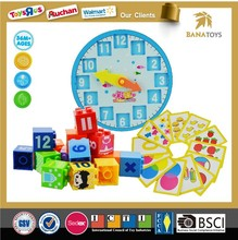 Educational toys kids figure block&math set plastic cube building block