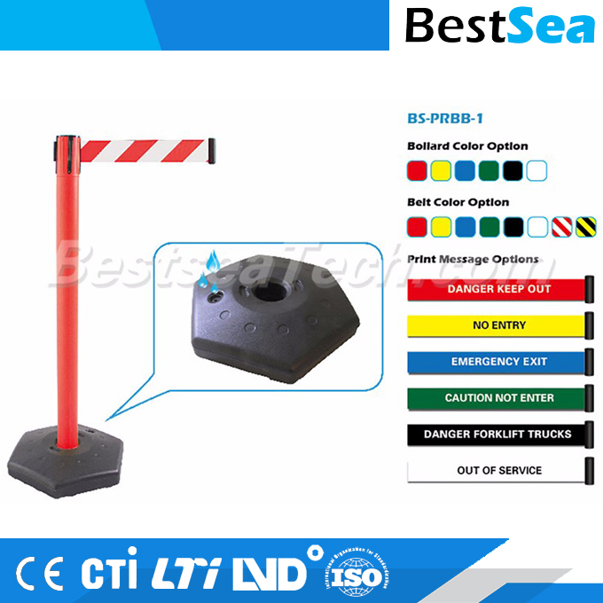 Crowd control barrier with heavy-duty substrates, China retractable barrier stand
