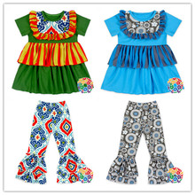 Kids Brand Clothes Short Sleeve Tops And Floral Icing Ruffle Pants Spring Boutique Outfits
