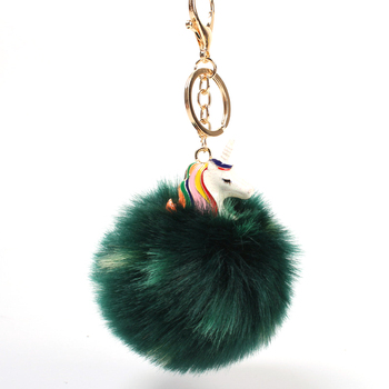 PO000183 WT Yiwu Fashion Ball Cute Unicorn Keychain Beauty Custom Colored fox mink fur Pom Poms