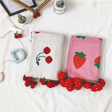 SHB010 New Design Jacquard Cherry Cotton Knitted Cotton Kids Baby Blanket