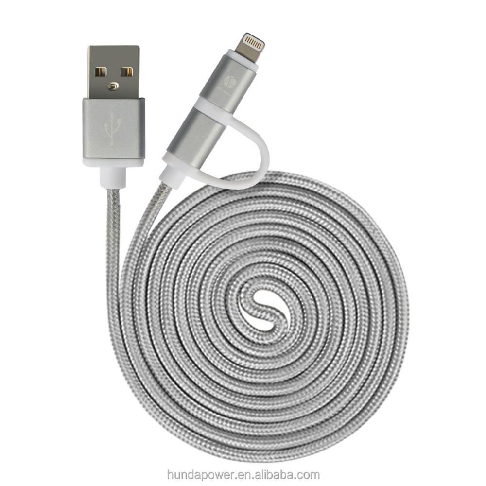 MFI certified 2 in 1 usb data charger switch cable with micro usb and 8pin USB 2.0