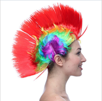 LED Light Up Mohawk Wig Mohican Hairstyle Christmas Halloween Carnival Wigs Costume Party Synthetic Colorful Hair Wigs