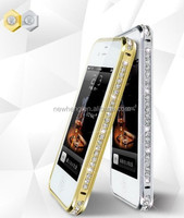 Luxury shining diamond electroplate metal aluminum frame bumper case for iPhone 5c