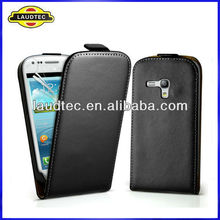 Genuine Real Leather Slim Case for Samsung Galaxy S3 mini i8190,Flip leather case cover---Laudtec