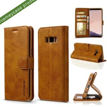 magnetic colsure goat skin pu leather folio stand case, nested tpu phone case with 3 card slot holder for Samsung