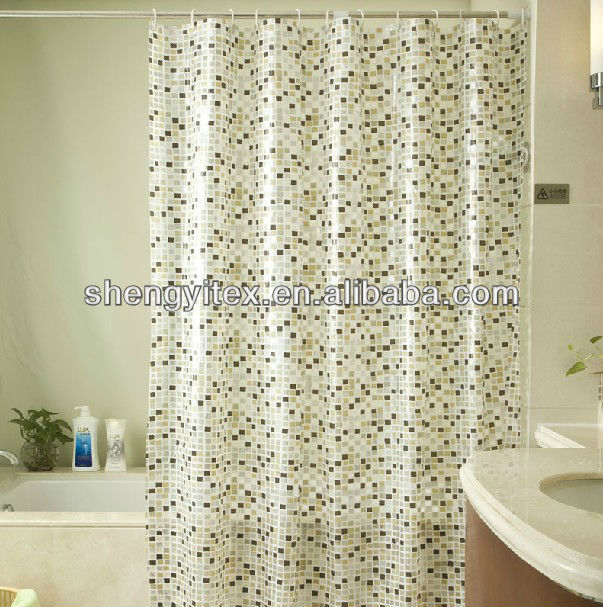 European style PEVA dyed mosaic shower curtain for home textile
