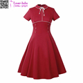 2017 Polyster Pure color Long Dress Red Short-Sleeve Evening Dress Button Bnaded Tie L36197