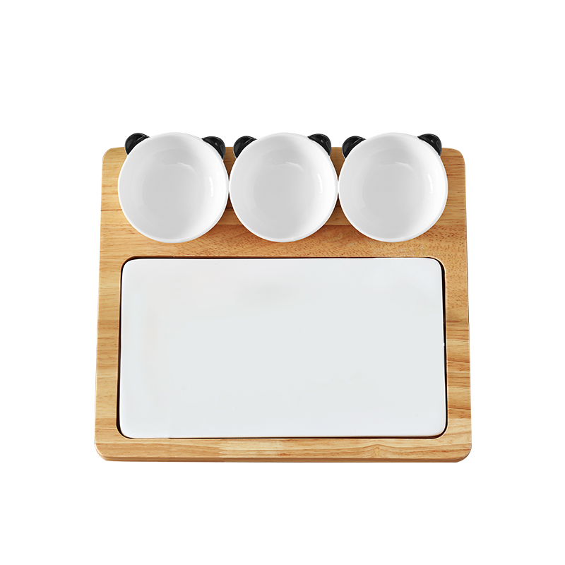 Home Wooden Kitchen Ceramic Cutting Board Fruit Pizza Tray