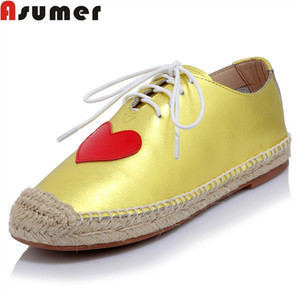 Asumer DX-336Y222 new arrival spring fashion Casual women pumps genuine leather shoes