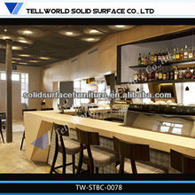 Long bench top style designing acrylic solid surface outdoor bar