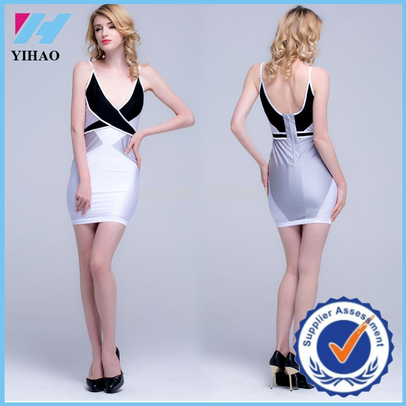 Yihao 2015 Woman Sexy White Backless Bodycon Night Sleeping Deep-v Cleavage Neck Mini Cocktail Party Dress