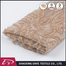 High quality custom embroidery sequin elegant party gold lace fabric