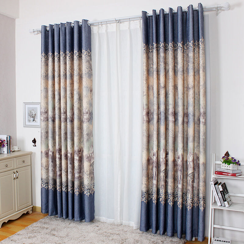 High End Elegant Jacquard Blackout Ready Made Bedroom Curtains