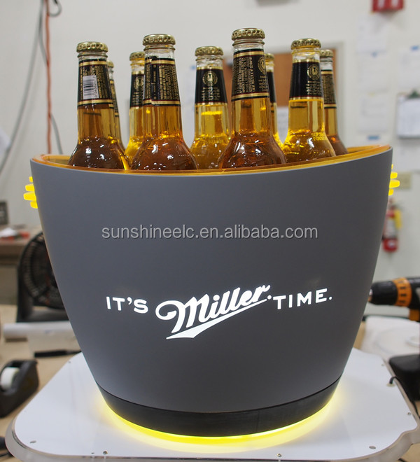 ABS plating double layer Ice Bucket with Led Lights