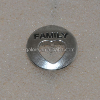 "high quality fashion hot sale silver 15mm round ""family""open heart floating locket plate."