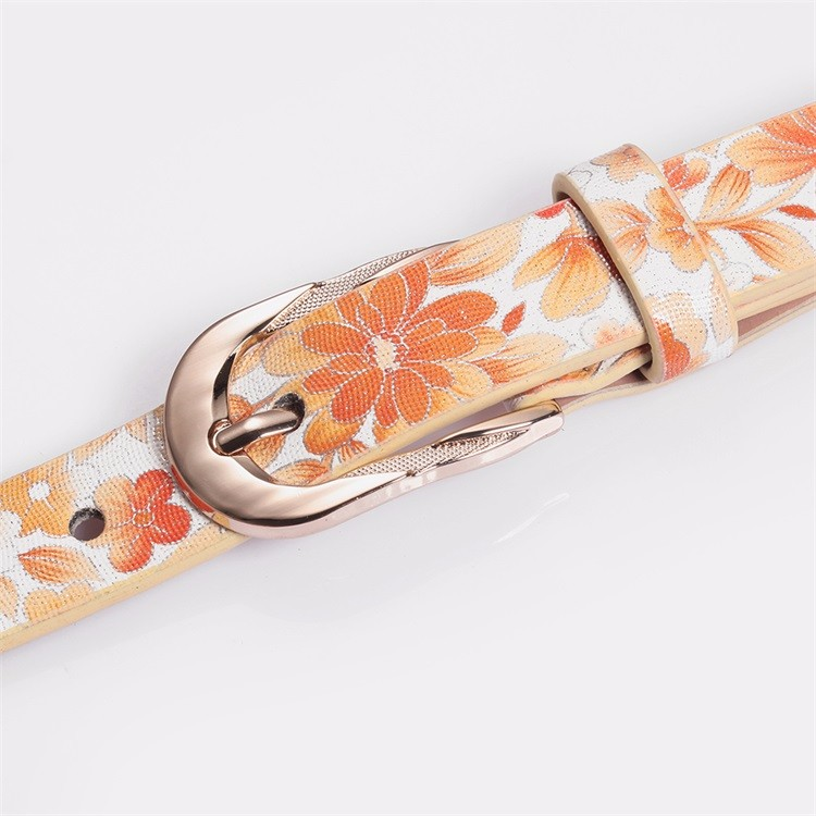 High Quality Flower Printed Surface Belts Pin Buckle Belts Artificial Leather Belts for Women