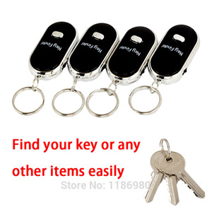 Key Finder Locator Black LED Find Lost Keys Keychain Whistle Sound Control