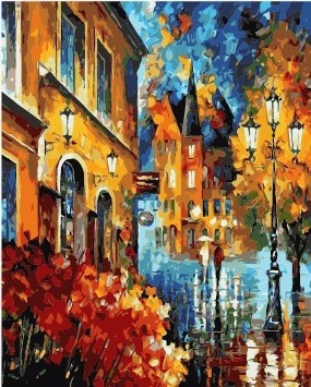 Wholesale rain street landscape diy canvas oil painting by numbers From original painting factory with 3ml 5ml vacuum acrylic