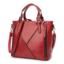 wholesale 2017 Occident style oil wax leather splicing Shoulder Lady Handbag